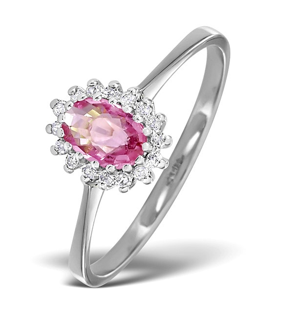 9K White Gold Diamond and Pink Sapphire Ring 0.08ct - image 1