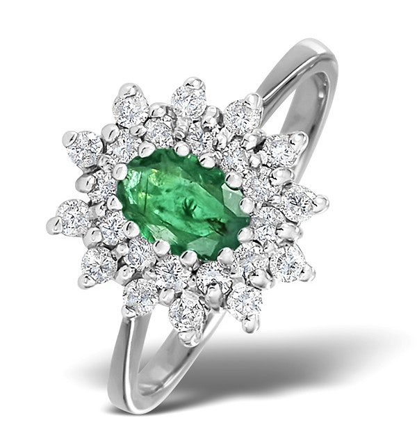 Emerald 6 x 4mm And Diamond 9K White Gold Ring  A4439 - image 1