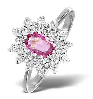 18K White Gold Diamond and Pink Sapphire Ring 0.36ct