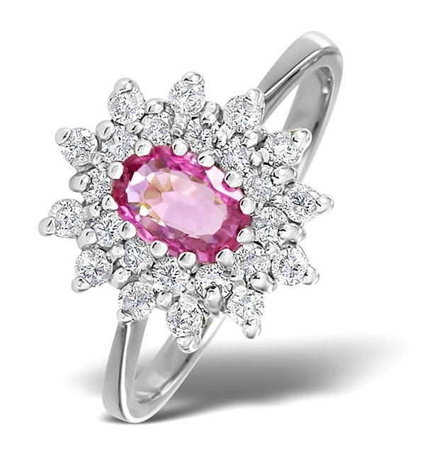 9K White Gold Diamond and Pink Sapphire Ring 0.36ct - image 1