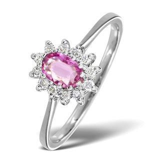 9K White Gold Diamond and Pink Sapphire Ring 0.18ct