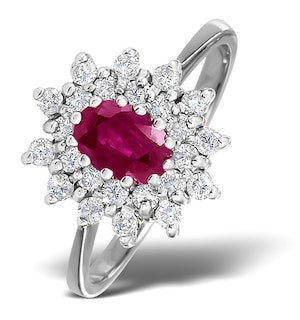 Ruby 6 x 4mm And Diamond 9K White Gold Ring  A4444
