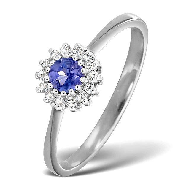 Tanzanite 3.5 x 3.5mm And Diamond 18K White Gold Ring - image 1