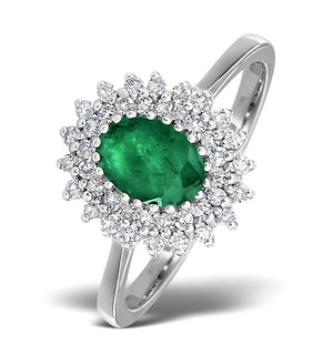 Emerald 7 x 5mm And Diamond 18K White Gold Ring