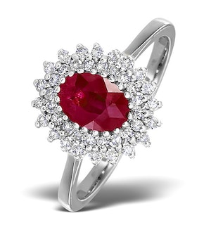 Ruby 7 x 5mm And Diamond 18K White Gold Ring  FET35-TY