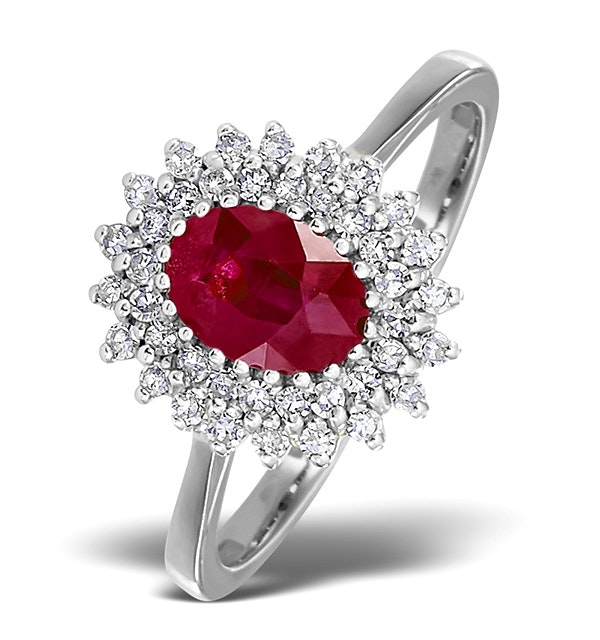 Ruby 7 x 5mm And Diamond 18K White Gold Ring  FET35-TY - image 1