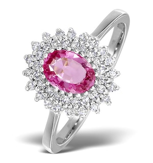 18K White Gold Diamond and Pink Sapphire Ring 0.30ct