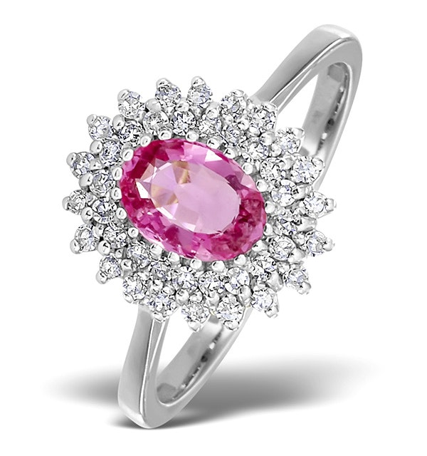 18K White Gold Diamond and Pink Sapphire Ring 0.30ct - image 1
