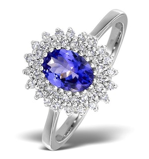 Tanzanite 7 x 5mm And 0.30ct Diamond 18K White Gold Ring  FET35-VY
