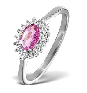 9K White Gold Diamond and Pink Sapphire Ring 0.14ct