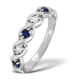 Sapphire 2.25 x 2.25mm And Diamond 18K White Gold Ring