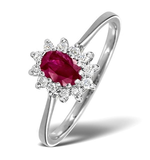 Ruby 6 x 4mm And Diamond 9K White Gold Ring  A4456