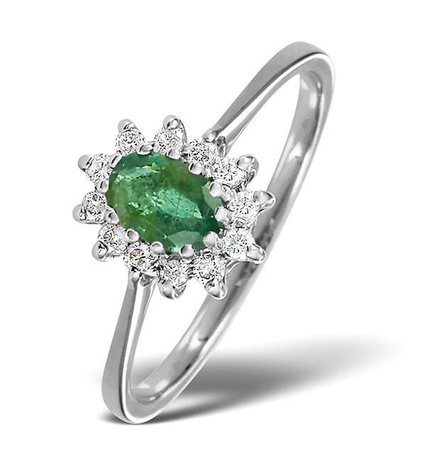 Emerald 6 x 4mm And Diamond 9K White Gold Ring - image 1