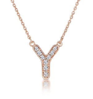 Initial 'Y' Necklace Diamond Encrusted Pave Set in 9K Rose Gold