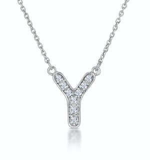 Initial 'Y' Necklace Diamond Encrusted Pave Set in 9K White Gold