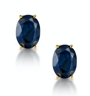 Sapphire 7mm x 5mm 18K Yellow Gold Earrings
