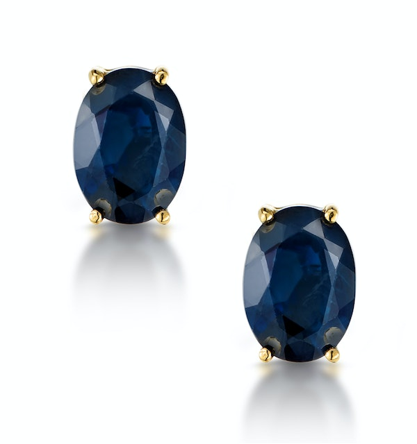Sapphire 7mm x 5mm 18K Yellow Gold Earrings - image 1