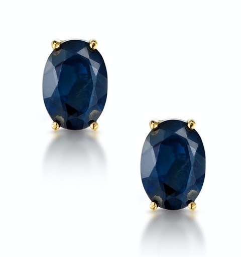 Sapphire 7mm x 5mm 18K Yellow Gold Earrings - image 1