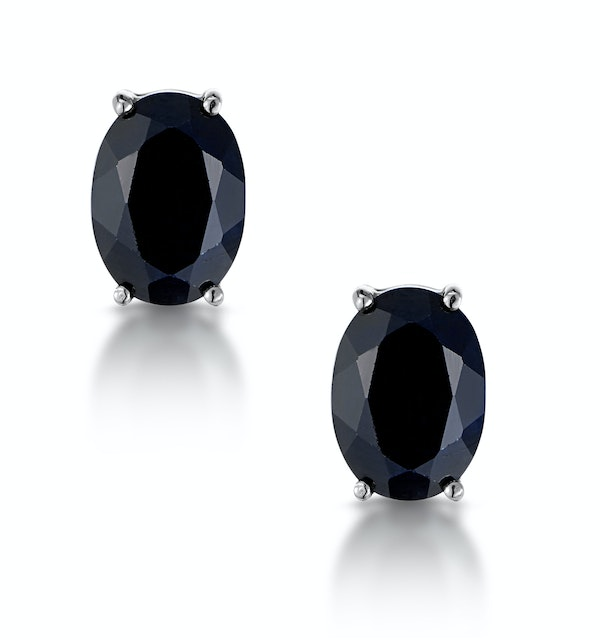Sapphire 7mm x 5mm and 9K White Gold Earrings - image 1
