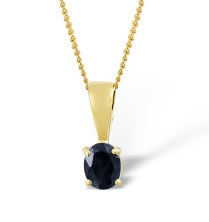Sapphire 5 x 4 mm 18K Yellow Gold Pendant Necklace