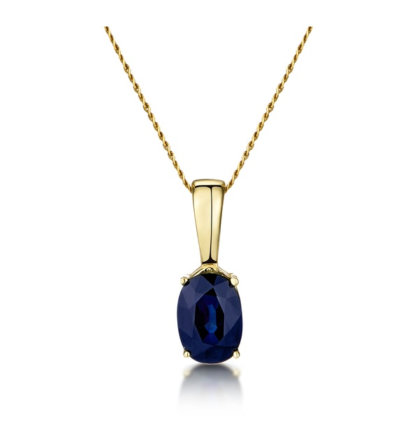 Sapphire 7 x 5 mm 9K Yellow Gold Pendant Necklace - image 1