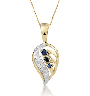 Sapphire 9 x 14 mm And Diamond 9K Yellow Gold Pendant Necklace