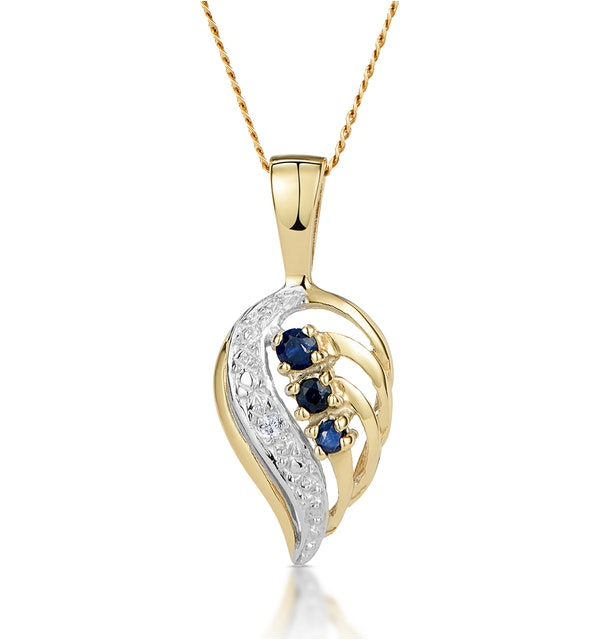 Sapphire 9 x 14 mm And Diamond 9K Yellow Gold Pendant Necklace - image 1
