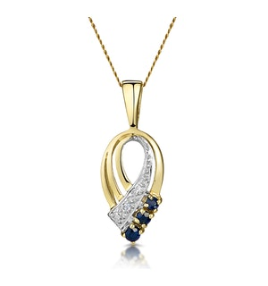Sapphire 2.25 mm And Diamond 9K Yellow Gold Pendant