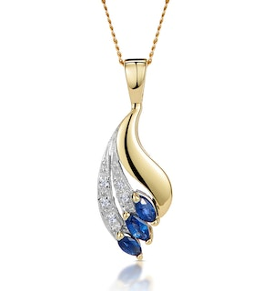 Sapphire 4 x 2mm And Diamond 9K Yellow Gold Pendant Necklace