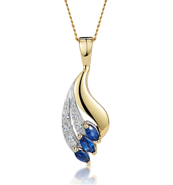 Sapphire 4 x 2mm And Diamond 9K Yellow Gold Pendant Necklace - image 1