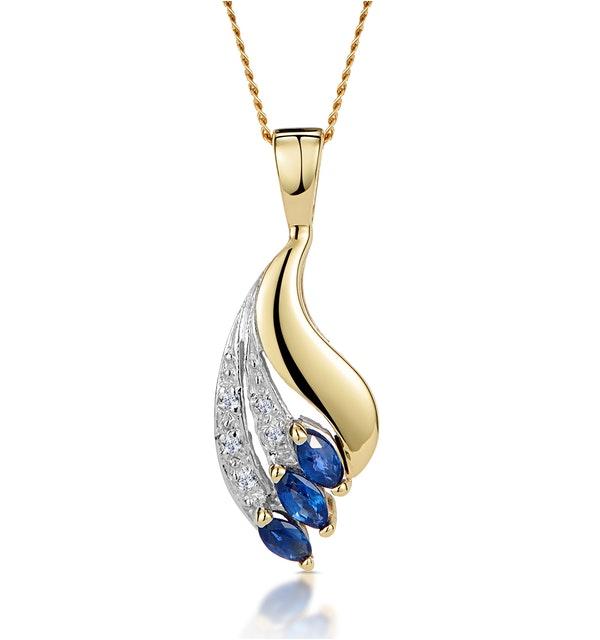 Sapphire 4 x 2mm And Diamond 9K Yellow Gold Pendant - image 1