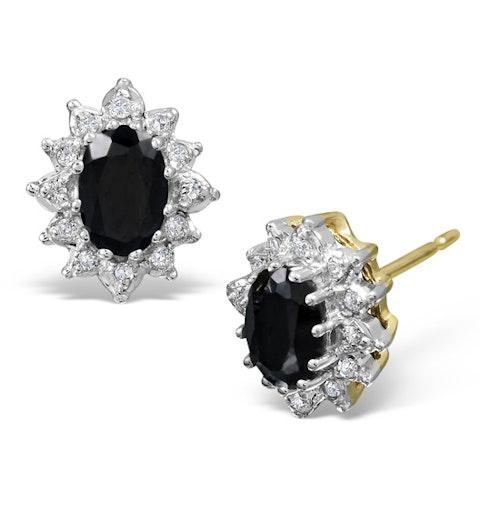 Sapphire 6mm x 4mm And Diamond 18K Yellow Gold Earrings  FEG25-U - image 1