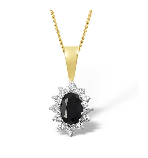 Sapphire 6 x 4mm And Diamond 9K Yellow Gold Pendant Necklace - image 1