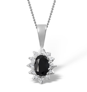 Sapphire 6 x 4mm And Diamond 18K White Gold Pendant