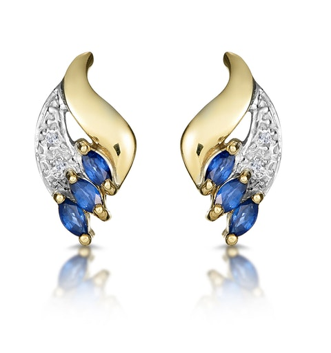 Sapphire 4mm x 2mm And Diamond 9K Yellow Gold Earrings - image 1