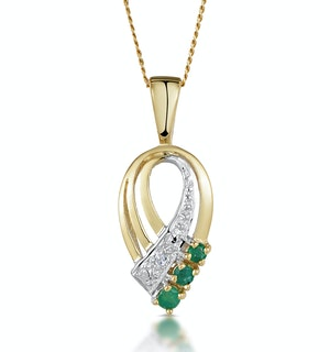Emerald 2.25mm And Diamond 9K Yellow Gold Pendant Necklace