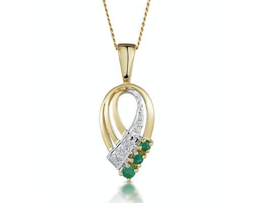 Emerald Yellow Gold Pendants And Necklaces