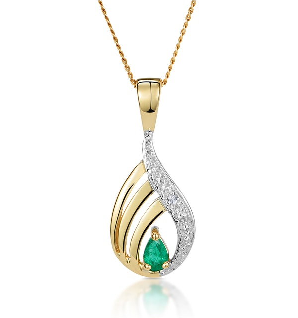 Emerald 4 x 3mm And Diamond 9K Yellow Gold Pendant Necklace - image 1