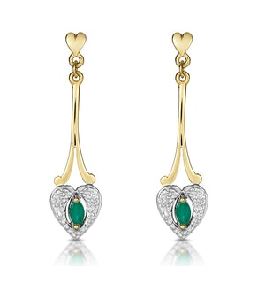 Emerald 5 x 3mm And Diamond 9K Yellow Gold Earrings  B3263