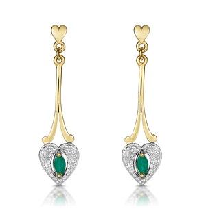 Emerald 5 x 3mm And Diamond 9K Yellow Gold Earrings  B3263