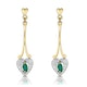 Emerald 5 x 3mm And Diamond 9K Yellow Gold Earrings  B3263 - image 1