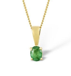 Emerald 5 x 4mm 18K Yellow Gold Pendant