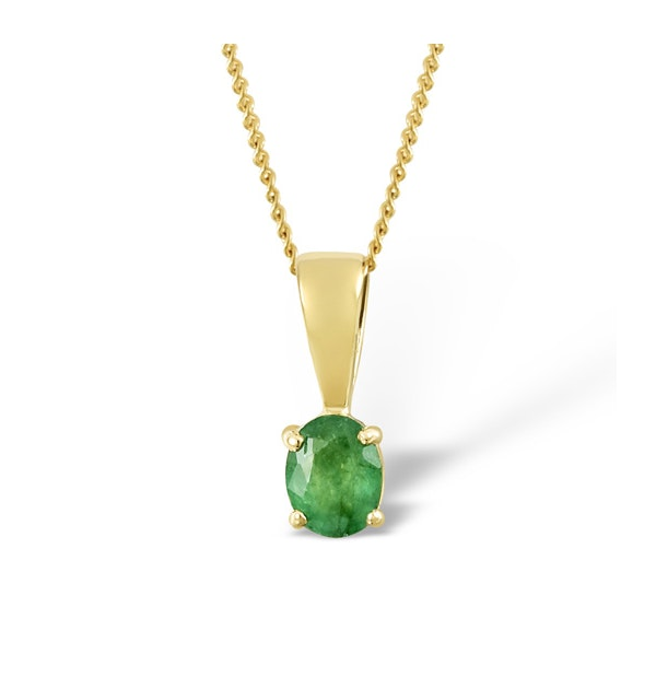 Emerald 5 x 4mm 18K Yellow Gold Pendant Necklace - image 1