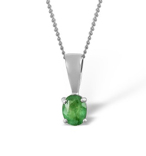 Emerald 5 x 4mm 18K White Gold Pendant