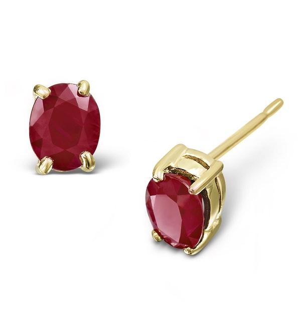 Ruby 5 x 4mm 18K Yellow Gold Earrings - image 1