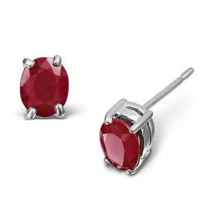 Ruby 5 x 4mm 18K White Gold Earrings