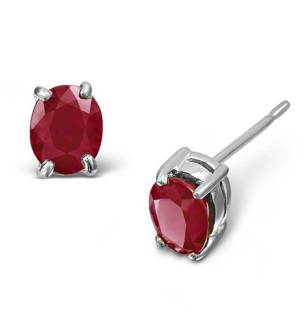 Ruby 5 x 4mm 18K White Gold Earrings - image 1
