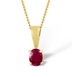 Ruby 5 x 4mm 18K Yellow Gold Pendant Necklace