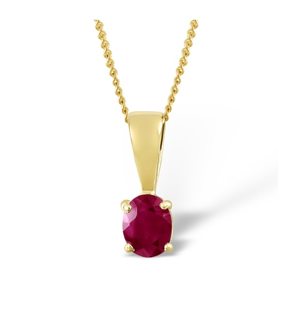 Ruby 5 x 4mm 9K Yellow Gold Pendant Necklace - image 1