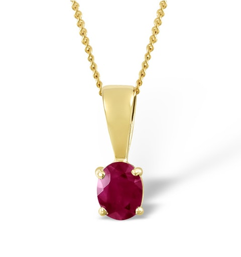 Ruby 5 x 4mm 18K Yellow Gold Pendant - image 1